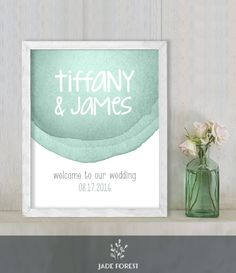 ♥ CLICK NOW TO SAVE 10% (Coupon code: PIN10) ▷ Wedding Welcome Sign DIY // Contemporary Green Watercolor // Printable Poster PDF  // Welcome To Our Wedding  ▷ Customized Sign by JadeForestDesign on Etsy
