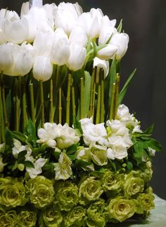 white and green arrangement - pretty tulips and roses