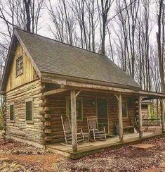 Small Log Cabin, Tiny House Cabin, Log Cabin Homes, Log Cabins, Mountain Cabins, Tiny Houses, Cabana, Diy Cabin, Cabin Ideas