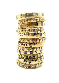 Crystal and Rapunzel Ring Stack by Polly Wales