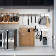 IKEA kitchen wall storage, RIMFORSA stainless steel rail