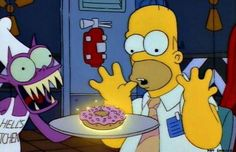 """The 26 Funniest Simpsons 'Treehouse of Horror' Skits of All Time: """"The Devil and Homer Simpson"""" (Treehouse of Horror IV) Simpsons Quotes, Simpsons Cartoon, Cartoon Icons, Simpsons Drawings, Homer Donuts, Simpsons Halloween, Goat Cartoon, Simpsons Episodes, Simpsons Treehouse Of Horror"""