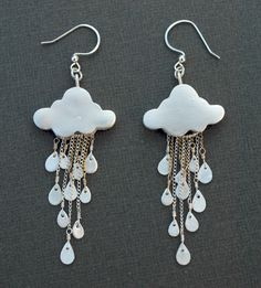 silver clay rain cloud earrings