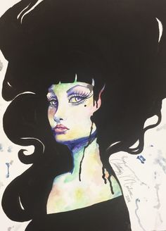 The lady,Art by me Courtney Martinez in watercolor and acrylic.