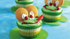 """Have everyone green with envy at the next bake sale when you present these """"toad""""ally cute cupcakes!"""