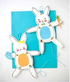 Free printable Easter Bunny Puppets for a cute, free last minute Easter basket goodie.