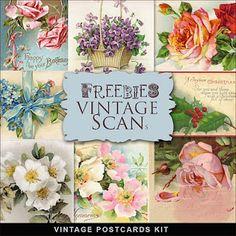 Free Digi Vintage Postcards Kit