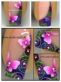I even like it better without the swirls and butterflies! - I even like it better without the swirls and butterflies! I even like it better without the swirls and butterflies! Butterfly Nail Designs, Toe Nail Designs, Nail Polish Designs, Pretty Nail Art, Beautiful Nail Art, Cool Nail Art, Fancy Nails, Diy Nails, Cute Nails