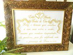 Quadro bordado personalizado com nome para bodas de ouro, bodas de prata etc, conforme a ocasião, com linda moldura medindo 43cmx56cm