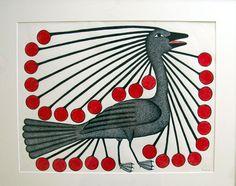 Enchanted Bird by Kenojuak Ashevak - Inuit & Native Art of Canada Original - Red Kettle Art And Collectibles Inuit Kunst, Inuit Art, Inuit Canada, Indigenous Art, Cultural, Naive Art, Canadian Artists, Fish Art, Wildlife Art