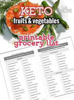 This printable PDF Keto foodd list has 2 lists of Low Carb vegetables and Low Carb Fruits with carb count shown in square brackets. Keto Diet Grocery List, Low Carb Food List, Ketogenic Diet Food List, Low Carb Recipes, Healthy Recipes, Keto Foods, Paleo Food, Keto Snacks, Lunch Recipes