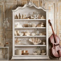 Eloquence Rousseau Aged White Finish with Silver Highlights Bookcase
