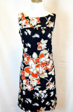 Ann Taylor 12 Dress Lined Cotton Floral Sleeveless | eBay