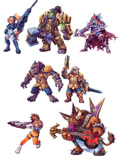 """Pixel versions of some of my favourite characters from Heroes of the Storm"" by Daniel ""Abysswolf"" Oliver"