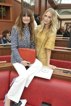 Caroline de Maigret and Poppy Delevingne Front Row at Chanel [Photo by Stephane Feugere]
