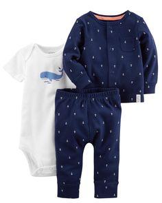 Baby Boy 3-Piece Babysoft Little Cardigan Set | Carters.com