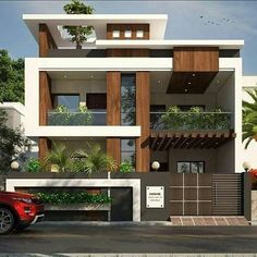 1600 square feet double floor modern home design with 3 bedrooms Modern Exterior House Designs, Best Modern House Design, Bungalow House Design, House Front Design, Minimalist House Design, Dream House Exterior, Modern Architecture House, Exterior Design, Architecture Design