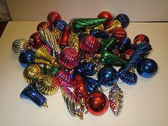 55 VINTAGE BRIGHT METAL LOOK PLASTIC CHRISTMAS TREE ORNAMENTS DECORATIONS