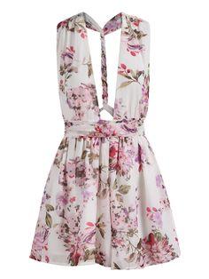 V Cut Backless Florals Jumpsuit