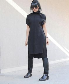 Black Asymmetrical Dress with Short Sleeves, #blackdress #asymmetricaldress #shortsleevesdress #cowlneckdress #oversizeddress #plussizedtunic #midkneecaftan #caftantunic #everydaytunic #comfydress #cottontunic #longcottontunic #cottonsuit