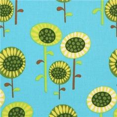 blue sunflower fabric by Robert Kaufman