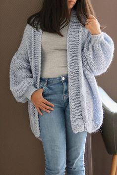 Oversize Chunky Knit Cardigan Baby Blue With Silver Metallic Knit Cardigan Pattern, Chunky Knit Cardigan, Mohair Sweater, Oversized Cardigan, Sweater Cardigan, Chunky Yarn, Knitting Kits, Easy Knitting, Giant Knitting