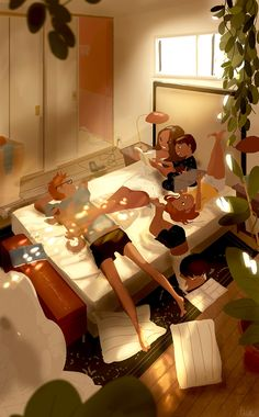 Wife And Kids, Mother And Child, Family Illustration, Digital Illustration, Interracial Art, Character Art, Character Design, Pascal Campion, Marriage Life
