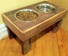 """Reclaimed rustic pallet furniture dog bowl stand pet feeding station with 2 brand new stainless steel bowls. 21"""" L X 11"""" W X 11"""" T via Etsy"""
