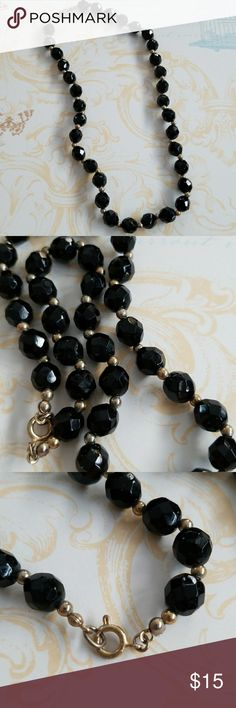 Vintage Classic Black Glass Bead Necklace Vintage  Excellent vintage condition  Glass beads  Spring ring closure Gold spacer beads Faceted glass black glistening beads A classic vintsge wardrobe essential Vintage Jewelry Necklaces