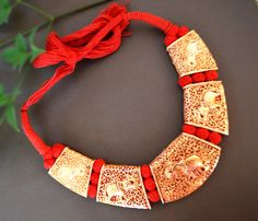 Red& Gold Necklace,Elephant Gold Necklace,Temple Beads Necklace,Antique Jewelry etsy,Ethnic South Indian Gold Necklace,fusion jewelry by taneesijewelry on Etsy