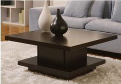 Modern Coffee Table Wooden Pagoda Style Accent Furniture Espresso Living Room $214