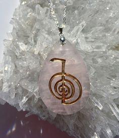 Cho Ku Rei Reiki symbol engraved Rose Quartz teardrop Pendant