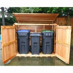 outdoor garbage can storage garbage can shed outdoor living today oscar trash can storage shed . Garbage Can Shed, Garbage Can Storage, Shed Storage, Storage Bins, Kayak Storage, Storage Area, Bin Shed, Outdoor Trash Cans, Garbage Containers
