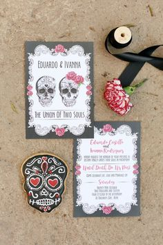 Day of the Dead Wedding Invitation | Credit: Hello Love Photography