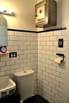 Vintage medicine cabinet #bathroom #blackwhite #pink