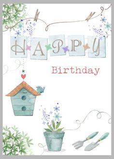 Victoria Nelson - Bird House Washing Line Copy Happy Birthday Art, Happy Birthday Images, Birthday Messages, Birthday Pictures, Birthday Greetings Friend, Birthday Clips, Vintage Birthday Cards, Happy B Day, Happy Anniversary