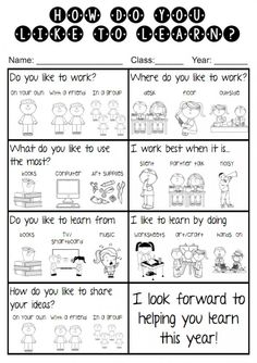 Find out at the start of the year how your students like to learn.