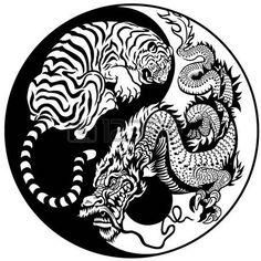 dragon chino: dragón y tigre yin yang símbolo de la armonía y el equilibrio Vectores