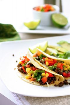 Black Bean Tacos with Red Pepper and Corn Salsa