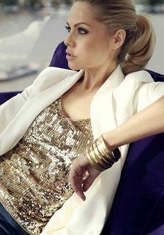 Glitter top with cream blazer