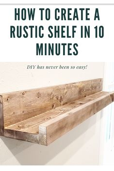 Need a shelf to display family pictures? Here's a step by step on this stained rustic, farmhouse shelf. Super easy and affordable! Do It Yourself Furniture, Diy Furniture, Furniture Projects, Furniture Design, Picture Shelves, Photo Shelf, Shelves With Pictures, Family Wall Pictures, Diy Picture Frames On The Wall