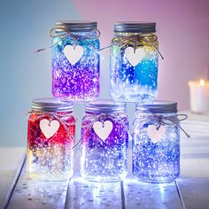 Sparkle LED Ombre Jar by TheLittleBoysRoom, the perfect gift for Explore more unique gifts in our curated marketplace. Glow Stick Jars, Glow Jars, Glow Sticks, Diy Crafts For Girls, Fun Diy Crafts, Mason Jar Crafts, Mason Jar Diy, Crafts With Glass Jars, Diy Jars