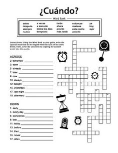 ¿Cuándo? is a Crossword Puzzle worksheet which helps students practice Spanish vocabulary for words that tell 'when'. This vocabulary review is particularly helpful in conjunction with time-telling units. $