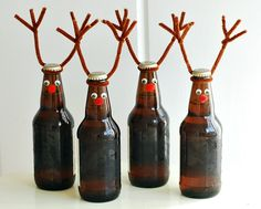 Make cool DIY projects with beer bottles: They are the craft supply that just keeps on giving! Get into upcycling and make awesome beer bottle crafts for your home. From beer bottle glasses to ligh… Root Beer Bottle, Beer Bottle Crafts, Beer Bottles, Diy Bottle, Empty Bottles, Bottle Caps, Holiday Fun, Christmas Holidays, Holiday Drinks