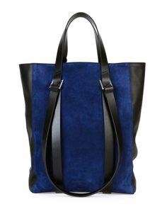 Tokyo Suede Mini Shopper Tote Bag, Blue/Black - CoSTUME NATIONAL @Costume National