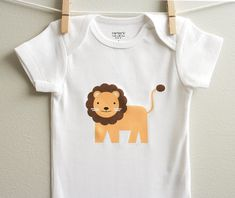 Lion baby clothes. Long or short sleeve. Your choice of size. by squarepaisleydesign on Etsy https://www.etsy.com/listing/79898437/lion-baby-clothes-long-or-short-sleeve
