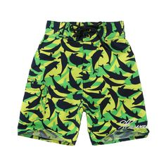 Buy Boy Hawaiian Swimwear Board Shorts with Tie in Green Yellow with Navy Dolphin Print at Walmart.com - Free Shipping