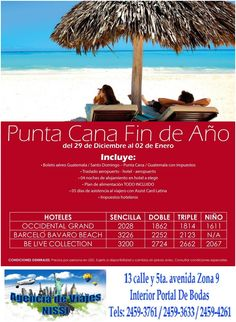 ¡¡¡Celebra en Punta Cana este fin de año!!! ¡¡¡Goza del sol mar y arena!!! Visítanos #AgenciaDeViajesNissi interior de Portal de Bodas Guatemala