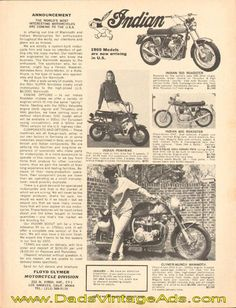 1969 Indian models now arriving in U. Twin Disc, Vintage Indian Motorcycles, Mini Bike, Indian Models, Bike Trails, Record Holder, Ads, Scooters, Classic
