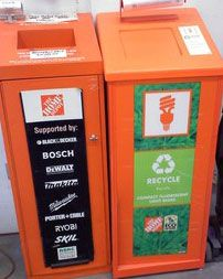 The Home Depot offers free in-store compact fluorescent lamp (CFL) recycling for household consumers. CFLs contain a small amount of mercury, so it's important to recycle them. Look for the orange recycling fixture near the Returns area of your local store.
